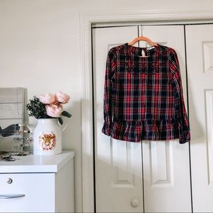 long sleeve embroidered plaid blouse
